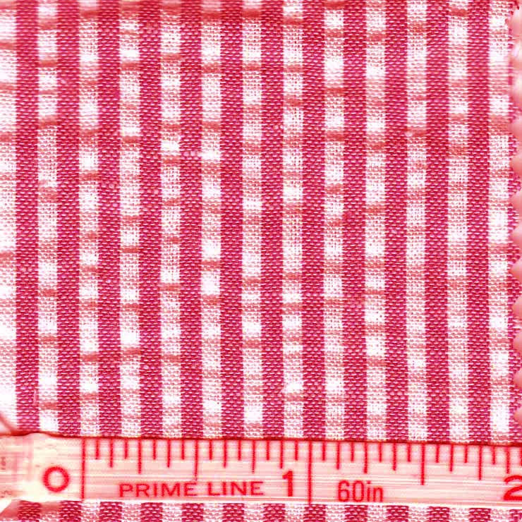Cotton Blend Seersucker - 30 Yard Bolt 25 Narrow Red - NY Fashion Center Fabrics