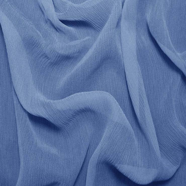 Silk Crinkle Chiffon Polo Blue