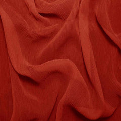 Silk Crinkle Chiffon Brick Red