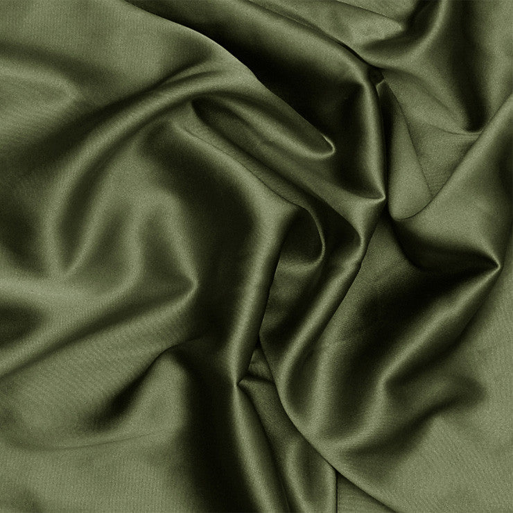 Silk Stretch Charmeuse Olive Green