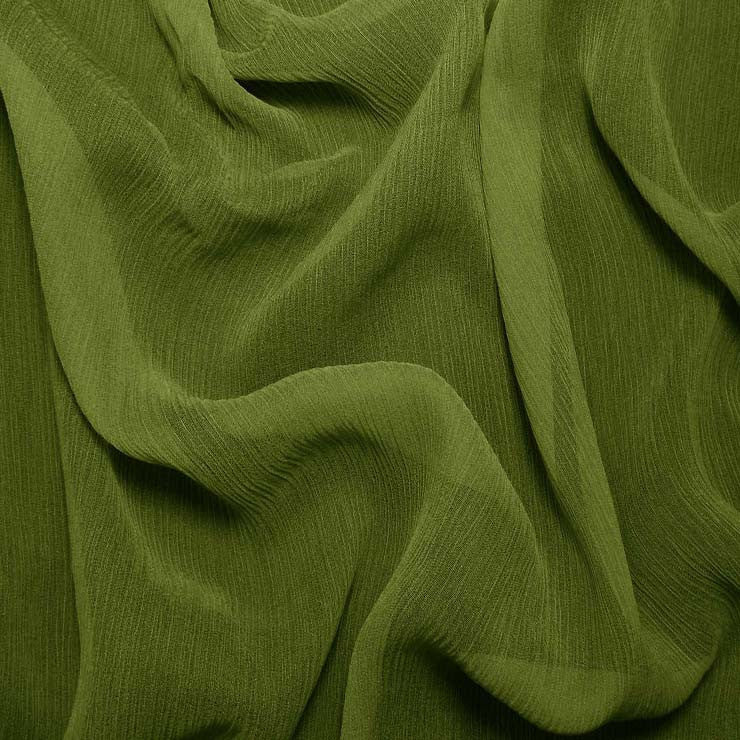 Silk Crinkle Chiffon Grass Green