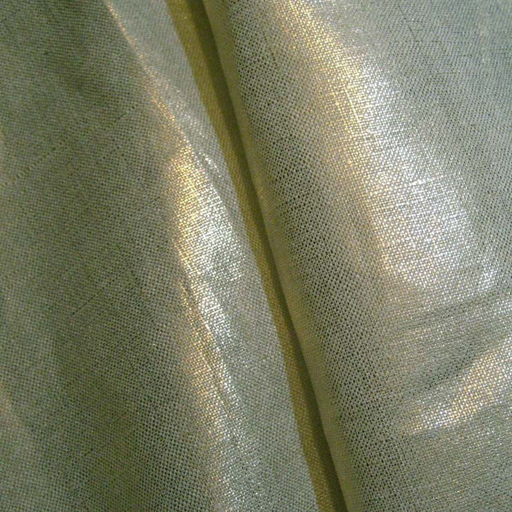 Metallic Linen 38 Gold on Light Blue Heavy - NY Fashion Center Fabrics