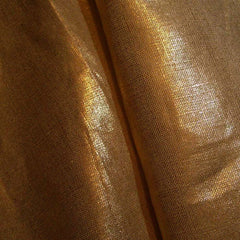 Metallic Linen 41 Silver on Milk Chocolate Heavy - NY Fashion Center Fabrics
