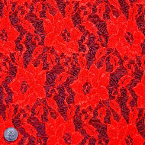 Floral Raschel Stretch Lace 412 Red - NY Fashion Center Fabrics