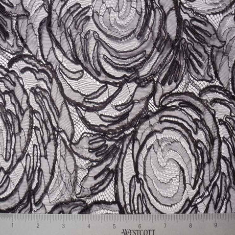 Alencon Lace #32 44 15411R 36Black - NY Fashion Center Fabrics