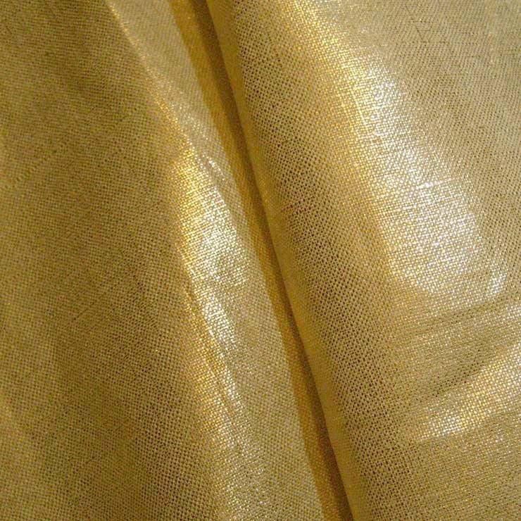 Metallic Linen 44 Gold on Tan Heavy - NY Fashion Center Fabrics