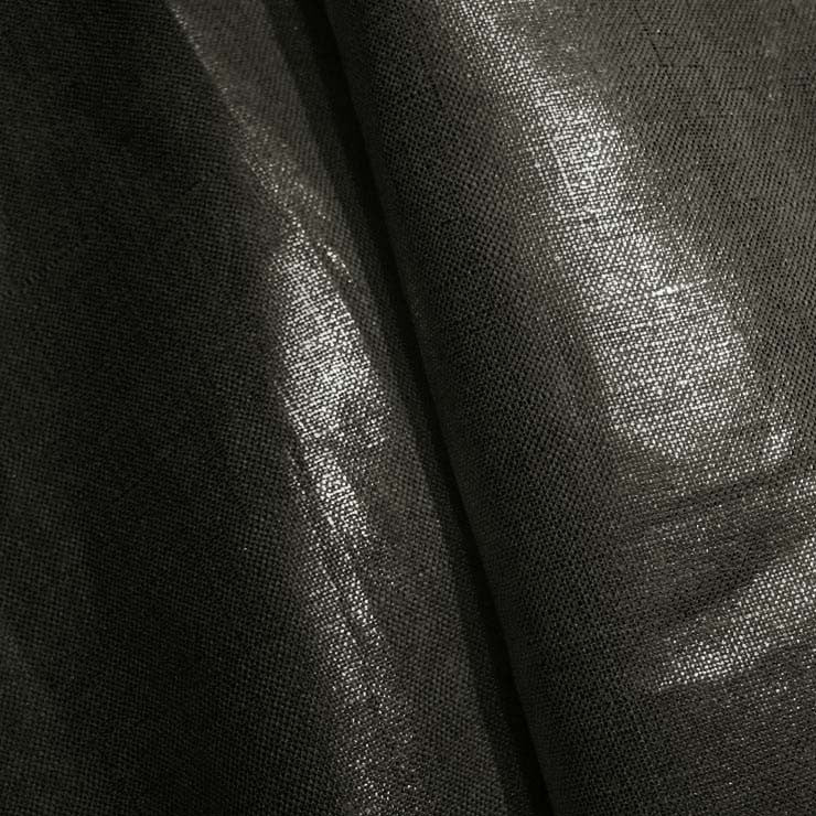 Metallic Linen 45 Silver on Black Heavy - NY Fashion Center Fabrics