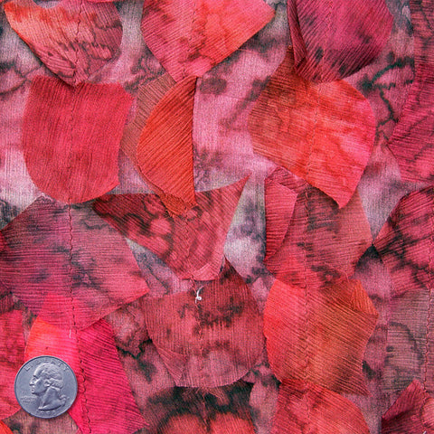 Silk Chiffon Novelty Petal Fabric 47 Crimson Leaf