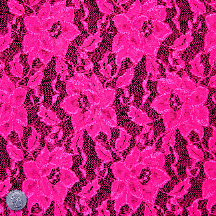 Floral Raschel Stretch Lace 489 Hot Pink - NY Fashion Center Fabrics