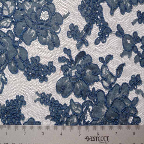 Alencon Lace #41 53 12060R 36 Petrol - NY Fashion Center Fabrics