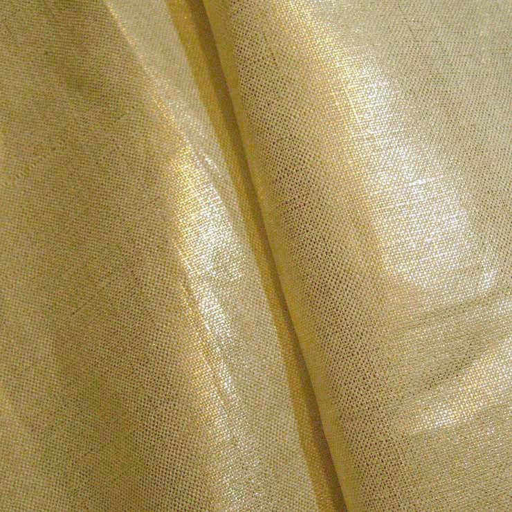 Metallic Linen 54 Silver on Tan Medium - NY Fashion Center Fabrics
