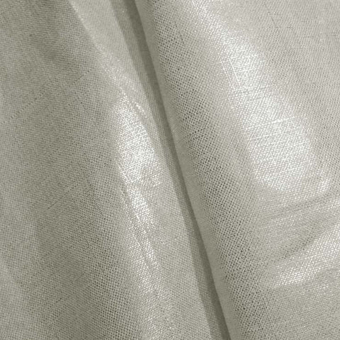 Metallic Linen 57 Silver on White Light - NY Fashion Center Fabrics