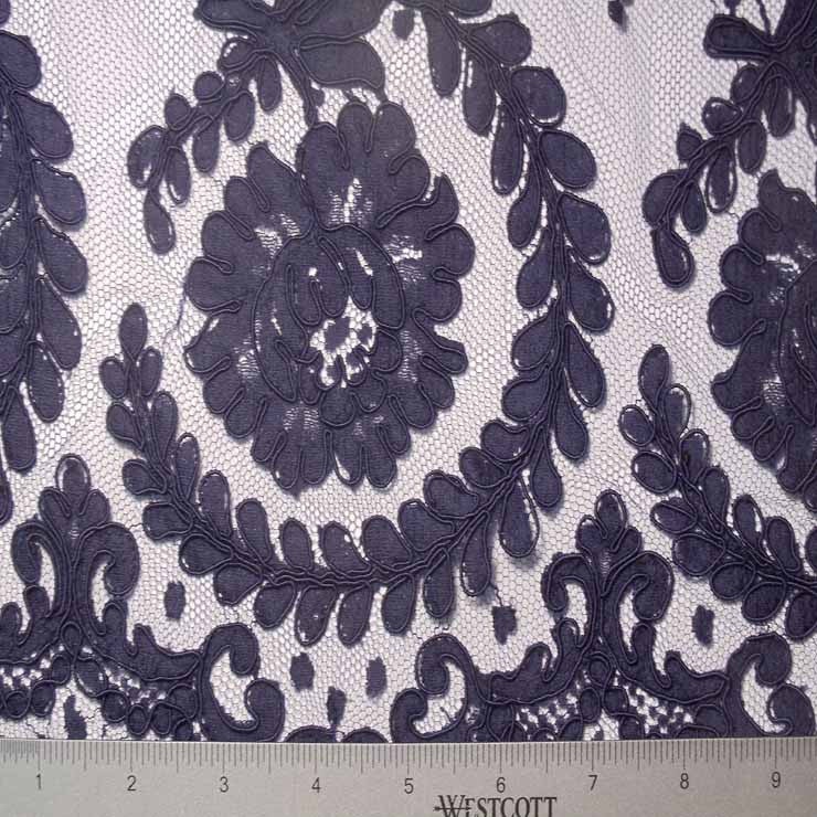 Alencon Lace #48 60 16132R 36 Navy - NY Fashion Center Fabrics