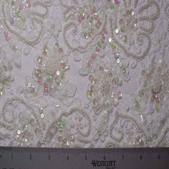 Alencon Beaded Lace #9 61 15198RB 12 White - NY Fashion Center Fabrics
