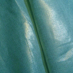 Metallic Linen 61 Gold on Turquoise Medium - NY Fashion Center Fabrics