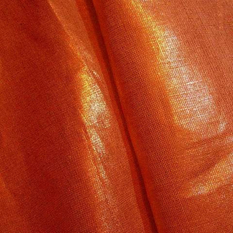Metallic Linen 62 Gold on Orange Medium - NY Fashion Center Fabrics