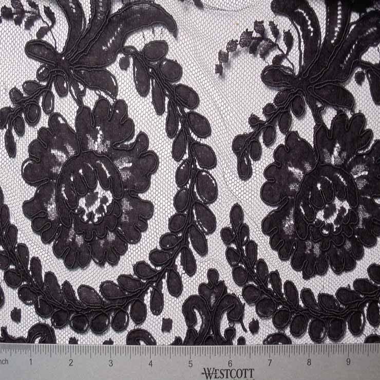 Alencon Lace #49 63 16132R 36 Black - NY Fashion Center Fabrics