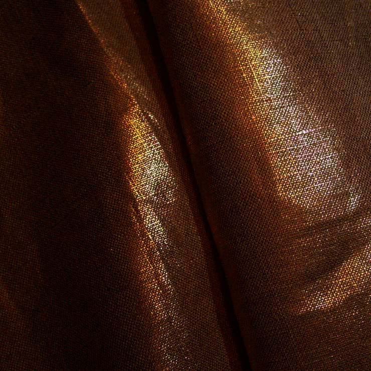 Metallic Linen 64 Gold on Chocolate Brown Medium - NY Fashion Center Fabrics