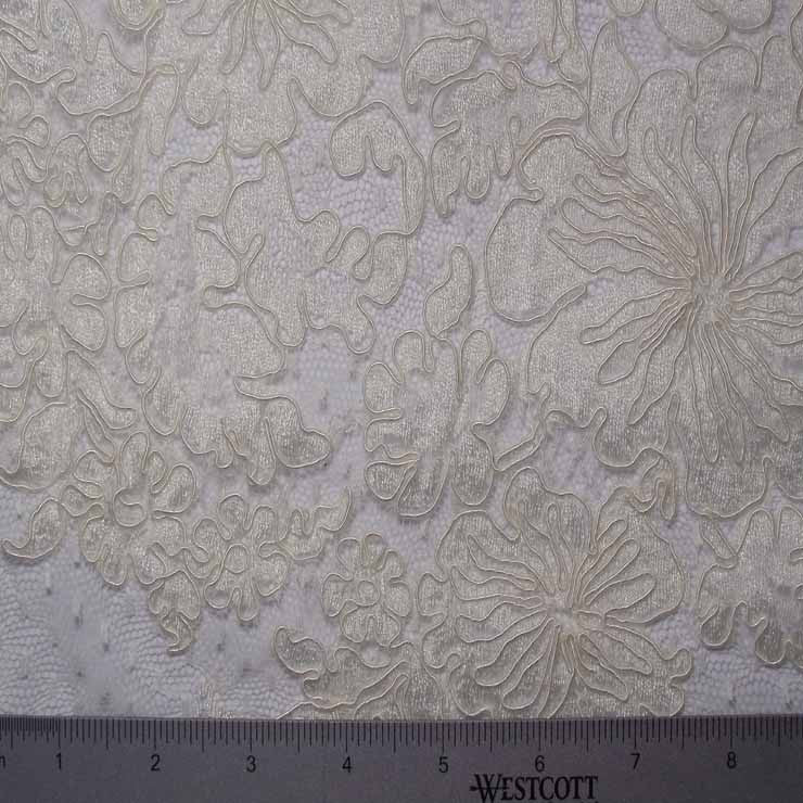 Heavily Embroidered Floral Alencon Lace #51 65 17700R 60 Ivory - NY Fashion Center Fabrics