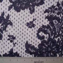 Navy Alencon Lace on Dot Net #52 66 17700R 60 Navy - NY Fashion Center Fabrics