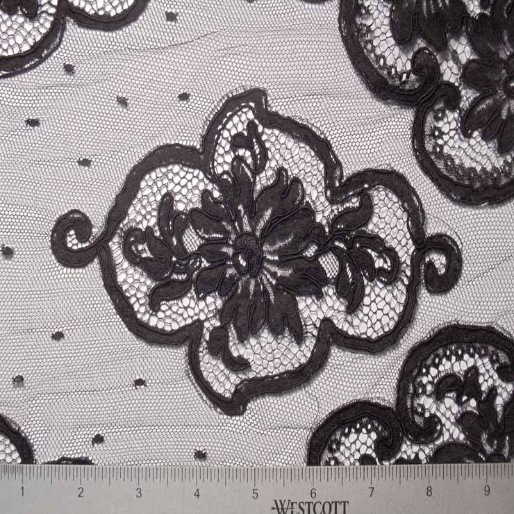 Medallion Alencon Lace on Dotted Net #53 67 16700R 60 Black - NY Fashion Center Fabrics