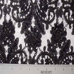 Alencon Beaded Lace #12 80 15198RB 12 Black - NY Fashion Center Fabrics