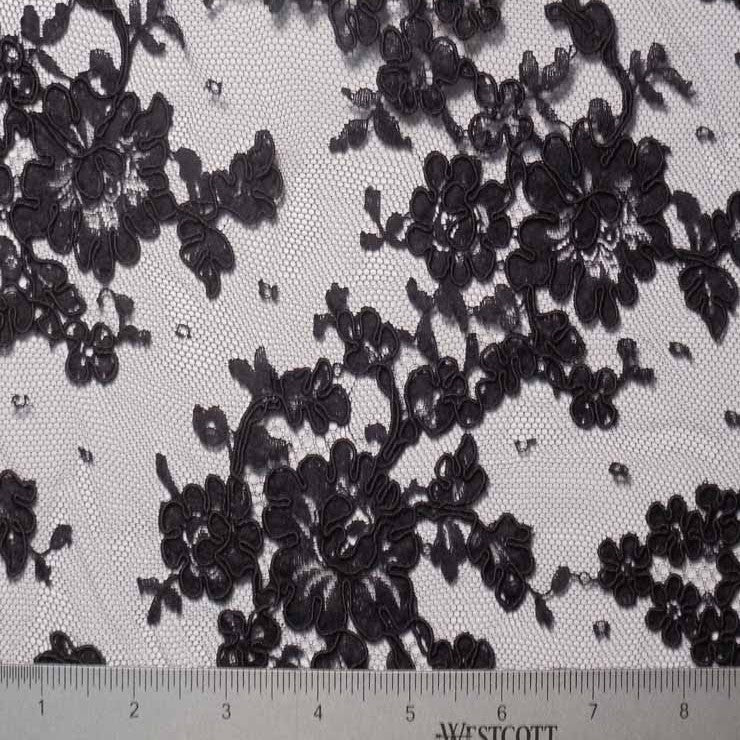 Black Alencon Lace on Dot Net #65 83 11006R 18 Black - NY Fashion Center Fabrics