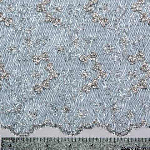 Embroidered Bows Lace Baby Blue - NY Fashion Center Fabrics
