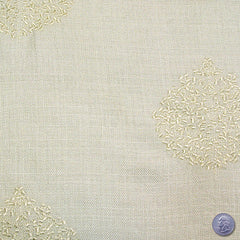 Polyester Embroidered Linen Look Beige