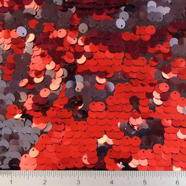 8mm Reversible Sequins Spandex Black Red on Black - NY Fashion Center Fabrics