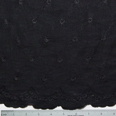 Scallop Edge Embroidered Linen Black