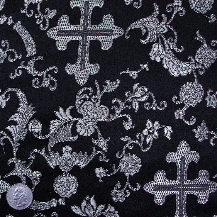 Silk Byzantine Brocade #1 Black