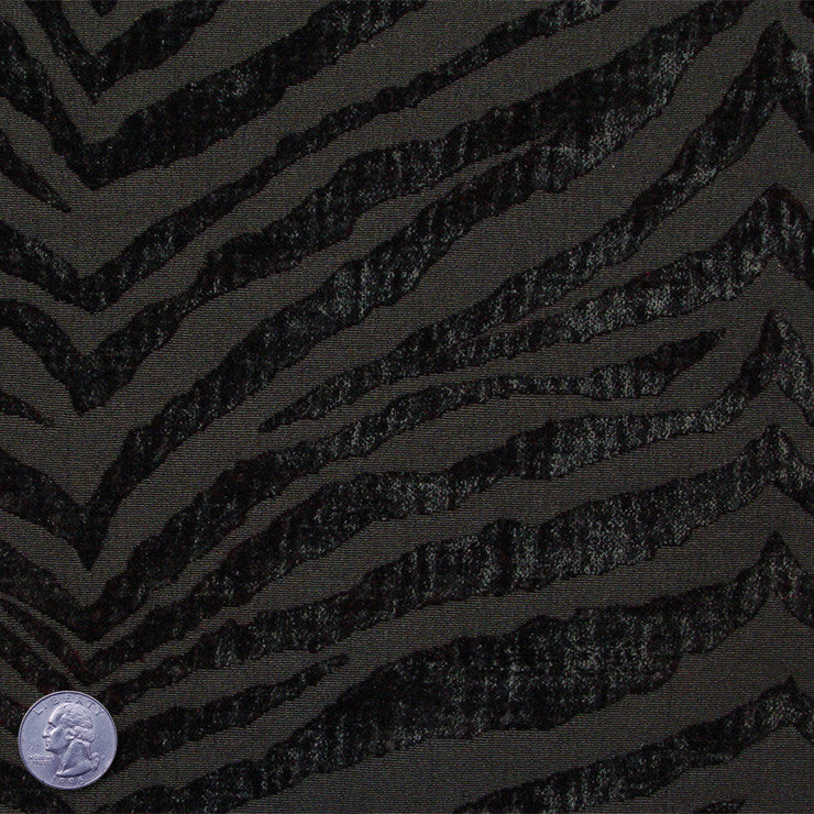 Polyester/Cotton Blend Tigerstripe Chenille Jacquard Black