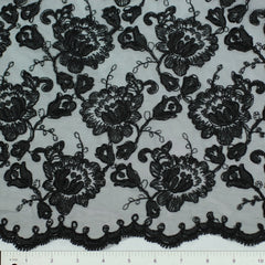 Double Scallop #84052W Black - NY Fashion Center Fabrics