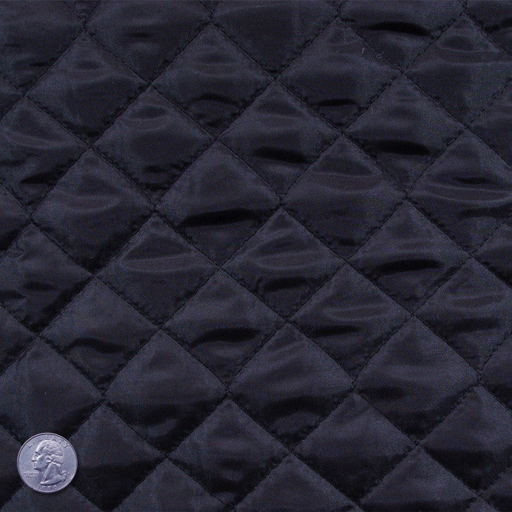 Polyester Quilted Padded Lining Black