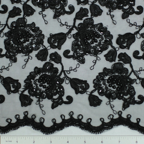 Double Scallop #84052BP Black - NY Fashion Center Fabrics
