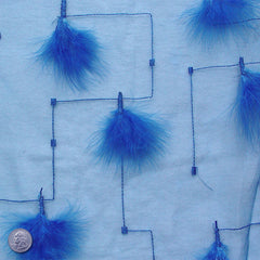 Polyester Embellished Feathers Organza Blue