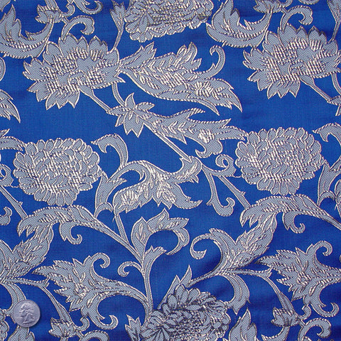 Floral Pop Brocade Blue - NY Fashion Center Fabrics