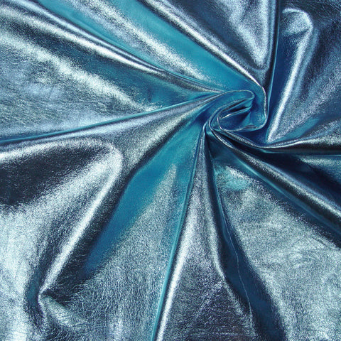 Metallic Lamb Leather Blue - NY Fashion Center Fabrics