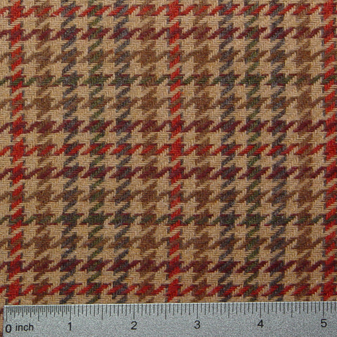 Wool Houndstooth Brown Red Triblend 5400