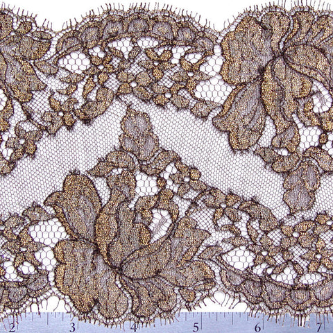 Chantilly Lace Trim 6 Inch Brown - NY Fashion Center Fabrics