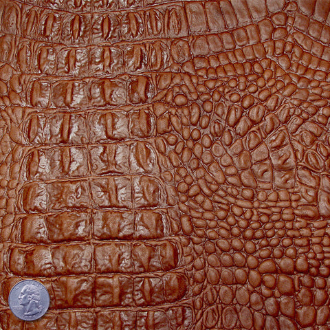 Crocodile Embossed Lamb Leather Brown - NY Fashion Center Fabrics