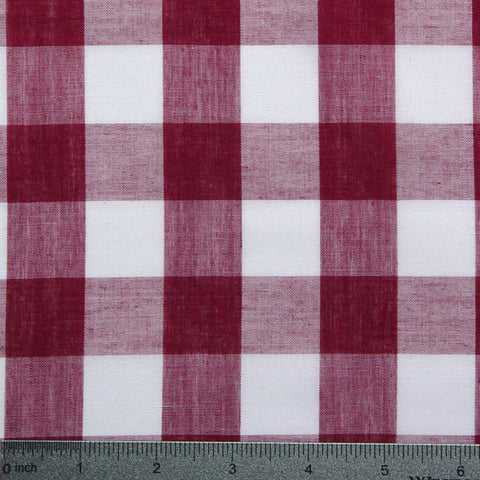 Cotton/Polyester Gingham Burgundy - NY Fashion Center Fabrics