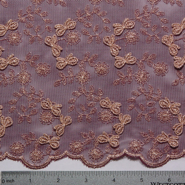 Embroidered Bows Lace Burgundy Fabric By The Yard Ny