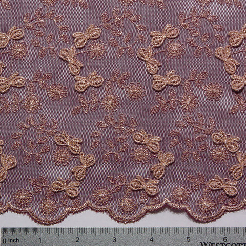 Embroidered Bows Lace Burgundy - NY Fashion Center Fabrics