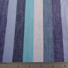 Multi Even Stripe Linen C 5500 08 Blue Teal - NY Fashion Center Fabrics
