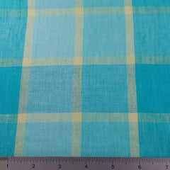 Window Pane Plaid Linen C 7004 Turquoise Yellow