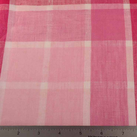 Window Pane Plaid Linen C 7005 Magenta White