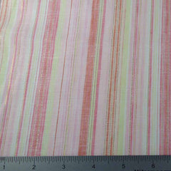Metallic Multi Stripe Linen Fabric CO 9 Strawberry Lemonade - NY Fashion Center Fabrics