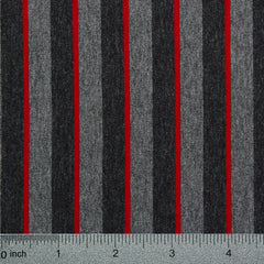 Cotton Spandex Striped Jersey Charcoal and Crimson - NY Fashion Center Fabrics